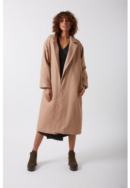 Maxi nude wool coat