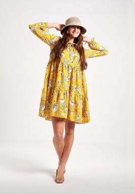 Yellow Floral Ruffle Dress
