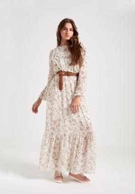 White Maxi Chiffon Floral Print Dress