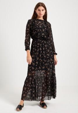 Black Maxi Chiffon Floral Print Dress
