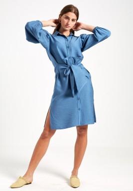 Blue Front Tie Shirt Dress