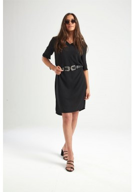 Black Minimalist Polo Short Sleeves Dress