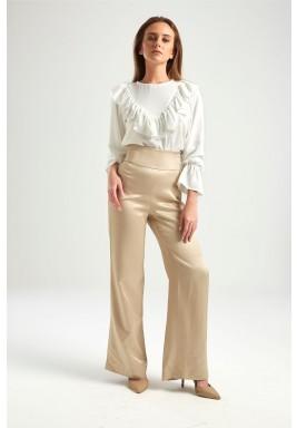 White Ruffled Long Sleeves Blouse