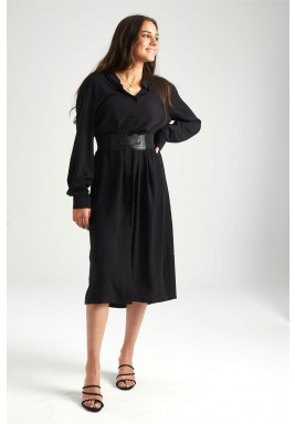 Black Buttoned Midi Shirt Dress