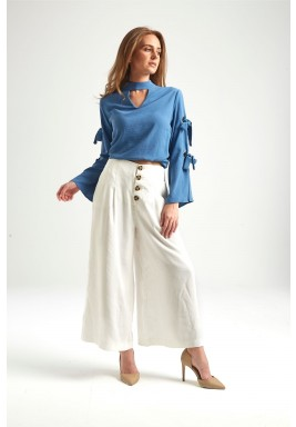 Blue Tie Sleeves Choker Neck Blouse