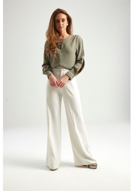 Olive Cut Out Sleeves Top