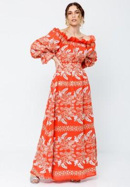 Orange Off-Shoulders Printed Kaftan