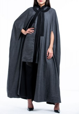 Black & grey duo face long cape & vest