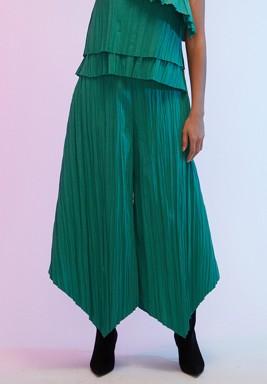 Green Wide-Legged Pleated Asymmetric Pants
