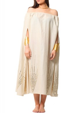 Beige Beaded Off Shoulders Kaftan