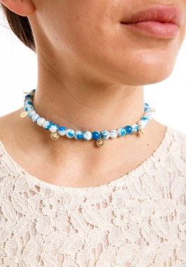 Blue Hand Painted Choker with Coins