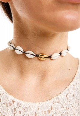 Cowrie shell choker black rope