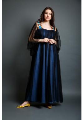 Malaga Blue & Black Tulle Kaftan