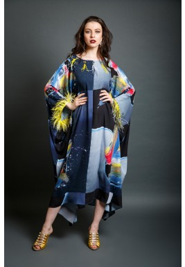 Mykonos Black & Blue Feather Kaftan