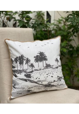 Black & White Palm Pattern Cushion