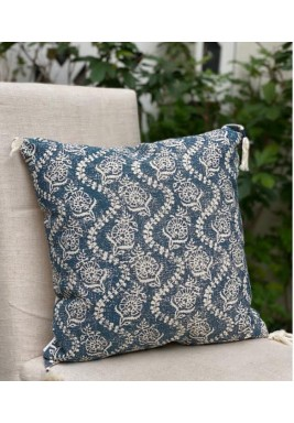 Blue Embroidered Cotton Cushion