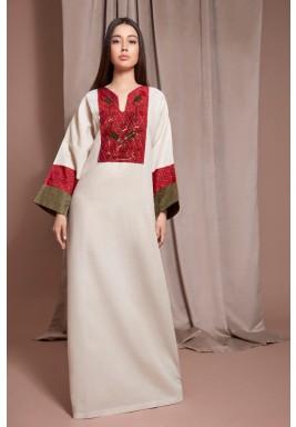 Beige & Maroon Embroidered Kaftan