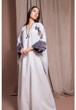 White Oversized Embroidered Kaftan