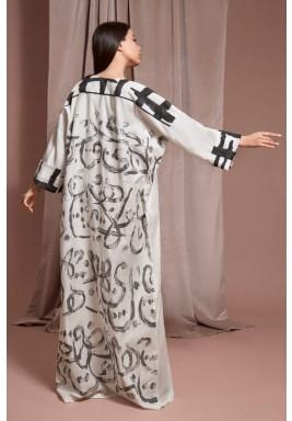 Black & White Calligraphy Kaftan