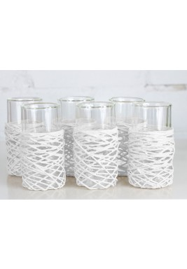 String Double tea Glass white 6pcs