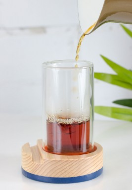 Double Tea Glass set (Wood/Glass) 6pcs Navy Blue