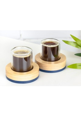 Double Espresso set (Wood/Glass) 2pcs