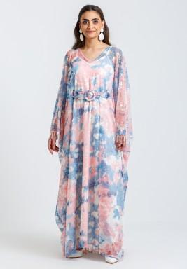 Pink & Blue Sparkly Belted Kaftan