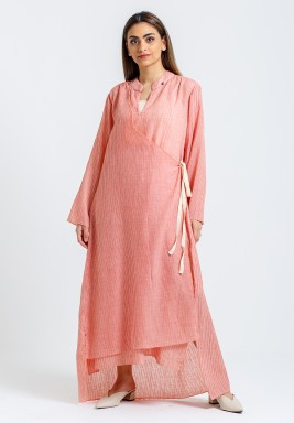Pink Wrap High-Low Kaftan