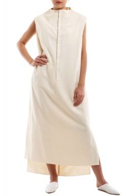 Cream sleeveless jallabiya
