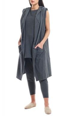 Dark grey Shawl Neck Jersey Vest