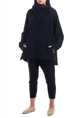 Black Hooded Jersey Sweater