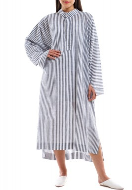 Blue & White Striped Oversized Shirt Dress