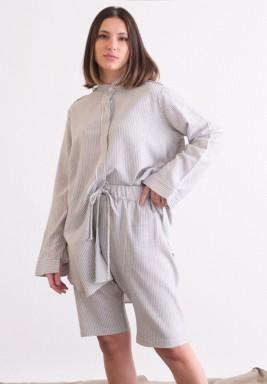 Grey Drawstring Striped Vintage Shorts