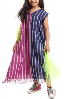 Colorful Striped Tulle Sleeve Kaftan