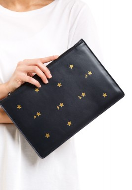 Black Clutch With Golden Stars