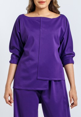 Purple Boat Neck Top