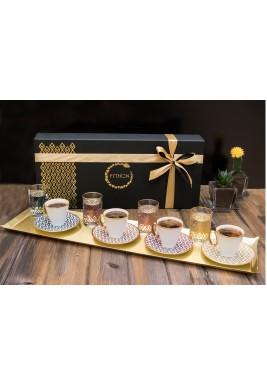 Turkish coffee & water set of 4