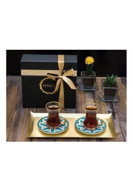 Turquoise Tea set of 2 pieces