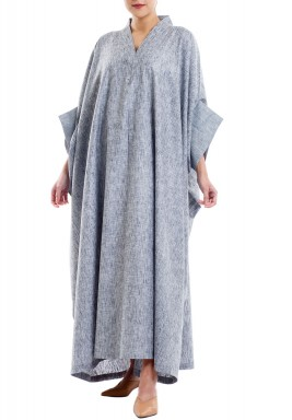 Grey Oversized V-Neck Kaftan