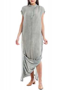 Grey Pleated Short Sleeves Kaftan