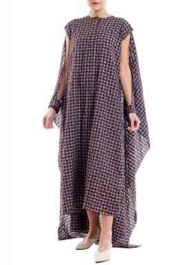 Checked Cape Style Kaftan