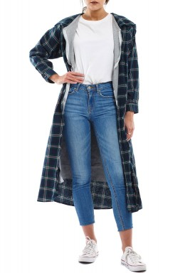 Grey & Green Checked Jacket Set