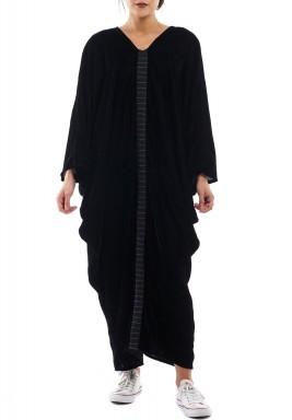 Boho black velvet dress