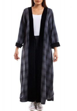 Black & Grey Checked Maxi Bisht
