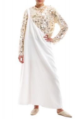 White One Shoulder Dress With Sequined Shirt