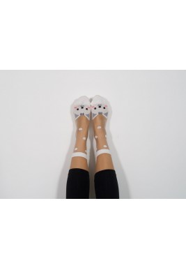 Angie White Cat Socks