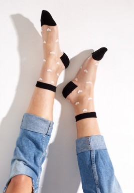 Black Julia White Hearts Socks