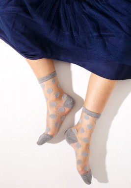 Mia Grey Polka Dot Socks