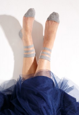 Nina Grey Striped Socks