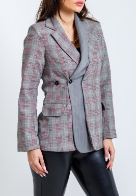 Grey Checked Double Collar Blazer